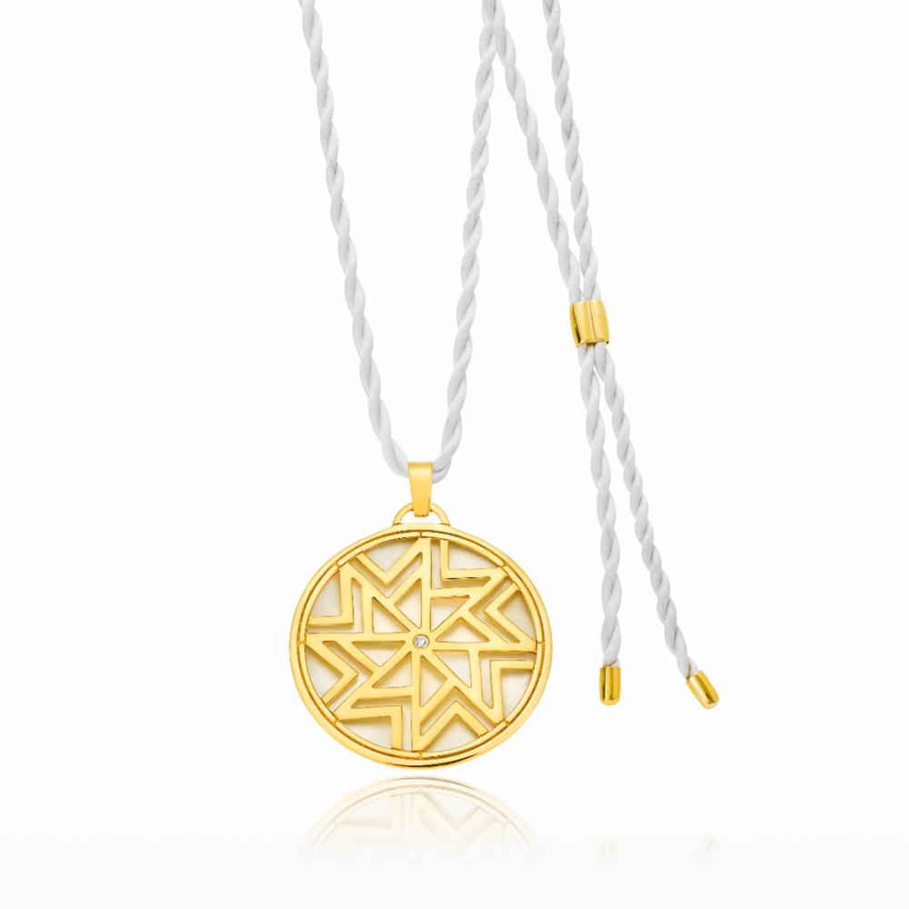 Παντατίφ AEOLOS σε κίτρινο χρυσό 18ΚΤ με φίλντισι και διαμάντι και ιβουάρ  σατέν στριφτό κορδόνι που αυξομειώνεται 67aadf5048e