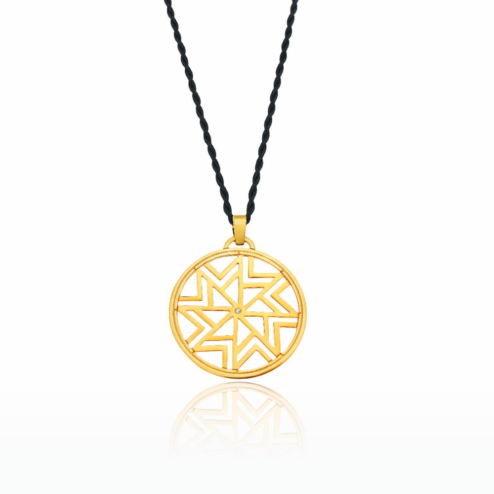 Παντατίφ AEOLOS μεγάλο σε κίτρινο χρυσό 18KT με διαμάντι και μαύρο στριφτό  σατέν κορδόνι c194ac8b619