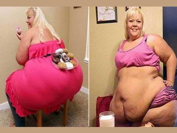 Γυναίκα 226 κιλών χρησιμοποιεί τα οπίσθιά της σαν τραπέζι! (pics)