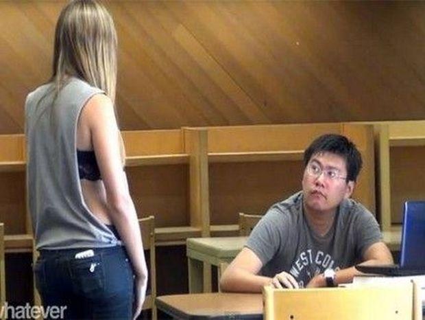 Εσείς πώς θα αντιδρούσατε αν μια όμορφη κοπέλα σας κοίταζε επίμονα; (VIDEO)