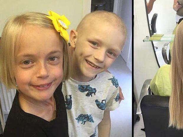 Έκοψε τα μαλλιά της για συμπαρασταθεί στον 7χρονο φίλο της που πάσχει από καρκίνο!