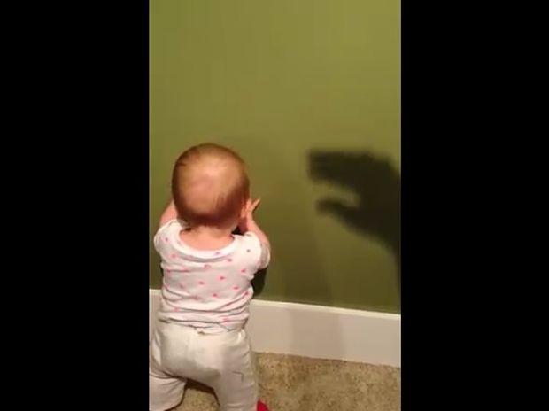Ξεκαρδιστικό! Μωρό εναντίον σκιάς... σημειώσατε διπλό! (video)