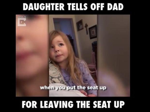 Το κοριτσάκι μαλώνει τον μπαμπά του για το κάθισμα της τουαλέτας! (video)